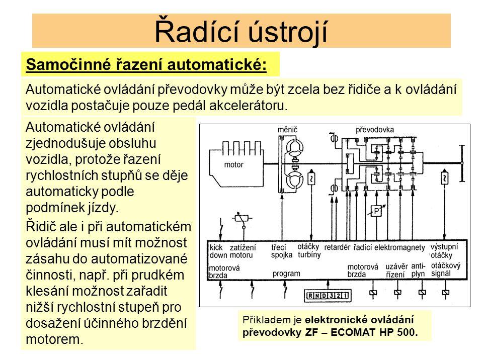 Řadící ústrojí Automatické ovládání převodovky může být zcela bez řidiče a k ovládání vozidla postačuje pouze pedál akcelerátoru. Automatické ovládání