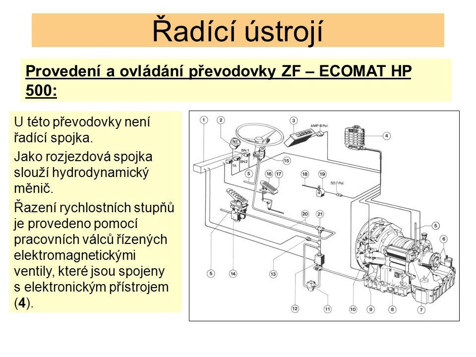 Řadící ústrojí Provedení a ovládání převodovky ZF – ECOMAT HP 500: U této převodovky není řadící spojka. Jako rozjezdová spojka slouží hydrodynamický