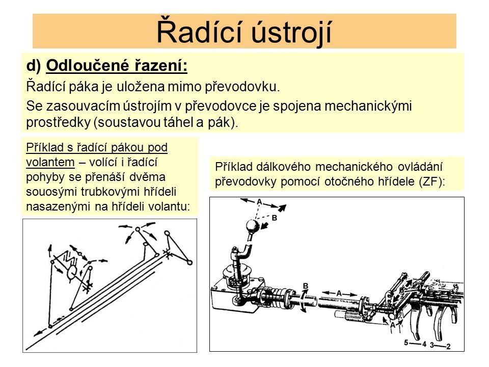 Řadící ústrojí d) Odloučené řazení: Řadící páka je uložena mimo převodovku. Se zasouvacím ústrojím v převodovce je spojena mechanickými prostředky (so