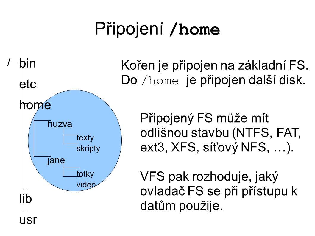 Připojení /home bin etc home huzva texty skripty jane fotky video lib usr / Kořen je připojen na základní FS.