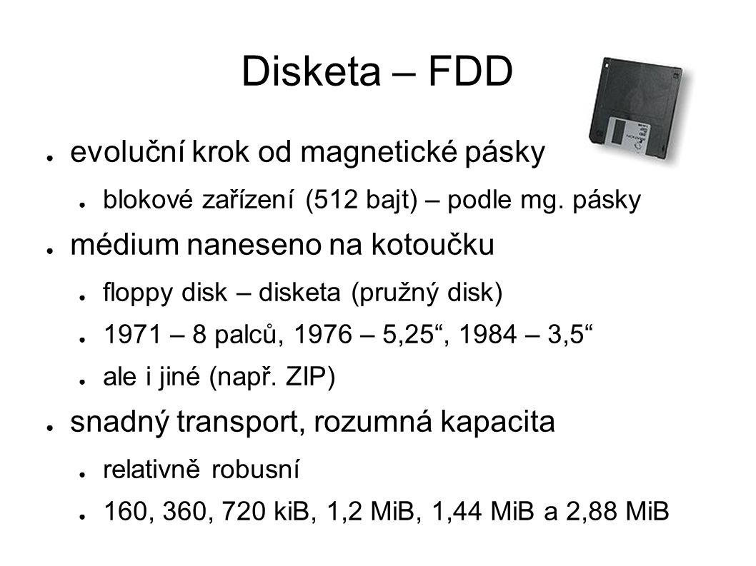 Pevný disk – HDD ● evoluční krok od diskety ● 1956 – IBM ● plovoucí hlava – bezkontaktní čtení/zápis ● typicky pevně vestavěn ● specifická rozhraní ● 1986 – SCSI, 1986 – ATA (max.