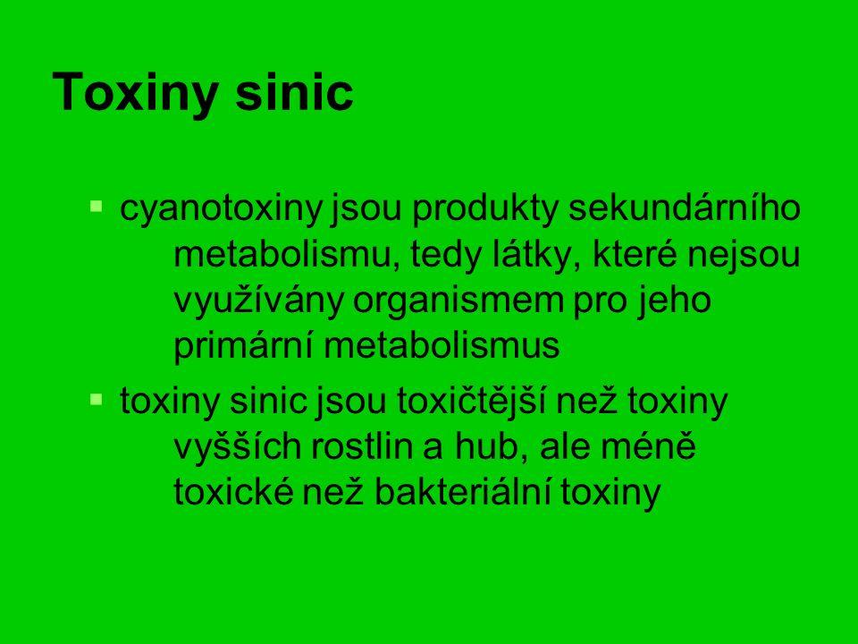 Toxiny sinic   cyanotoxiny jsou produkty sekundárního metabolismu, tedy látky, které nejsou využívány organismem pro jeho primární metabolismus   toxiny sinic jsou toxičtější než toxiny vyšších rostlin a hub, ale méně toxické než bakteriální toxiny
