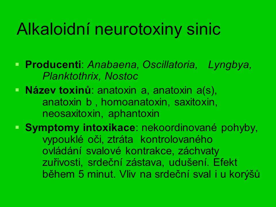 Alkaloidní neurotoxiny sinic   Producenti: Anabaena, Oscillatoria, Lyngbya, Planktothrix, Nostoc   Název toxinů: anatoxin a, anatoxin a(s), anatoxin b, homoanatoxin, saxitoxin, neosaxitoxin, aphantoxin   Symptomy intoxikace: nekoordinované pohyby, vypouklé oči, ztráta kontrolovaného ovládání svalové kontrakce, záchvaty zuřivosti, srdeční zástava, udušení.