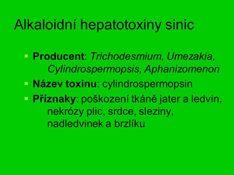 Alkaloidní hepatotoxiny sinic   Producent: Trichodesmium, Umezakia, Cylindrospermopsis, Aphanizomenon   Název toxinu: cylindrospermopsin   Příznaky: poškození tkáně jater a ledvin, nekrózy plic, srdce, sleziny, nadledvinek a brzlíku