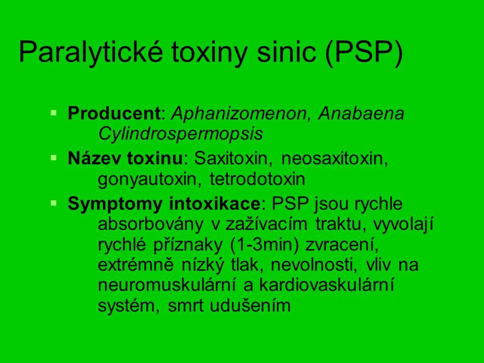 Paralytické toxiny sinic (PSP)   Producent: Aphanizomenon, Anabaena Cylindrospermopsis   Název toxinu: Saxitoxin, neosaxitoxin, gonyautoxin, tetrodotoxin   Symptomy intoxikace: PSP jsou rychle absorbovány v zažívacím traktu, vyvolají rychlé příznaky (1-3min) zvracení, extrémně nízký tlak, nevolnosti, vliv na neuromuskulární a kardiovaskulární systém, smrt udušením