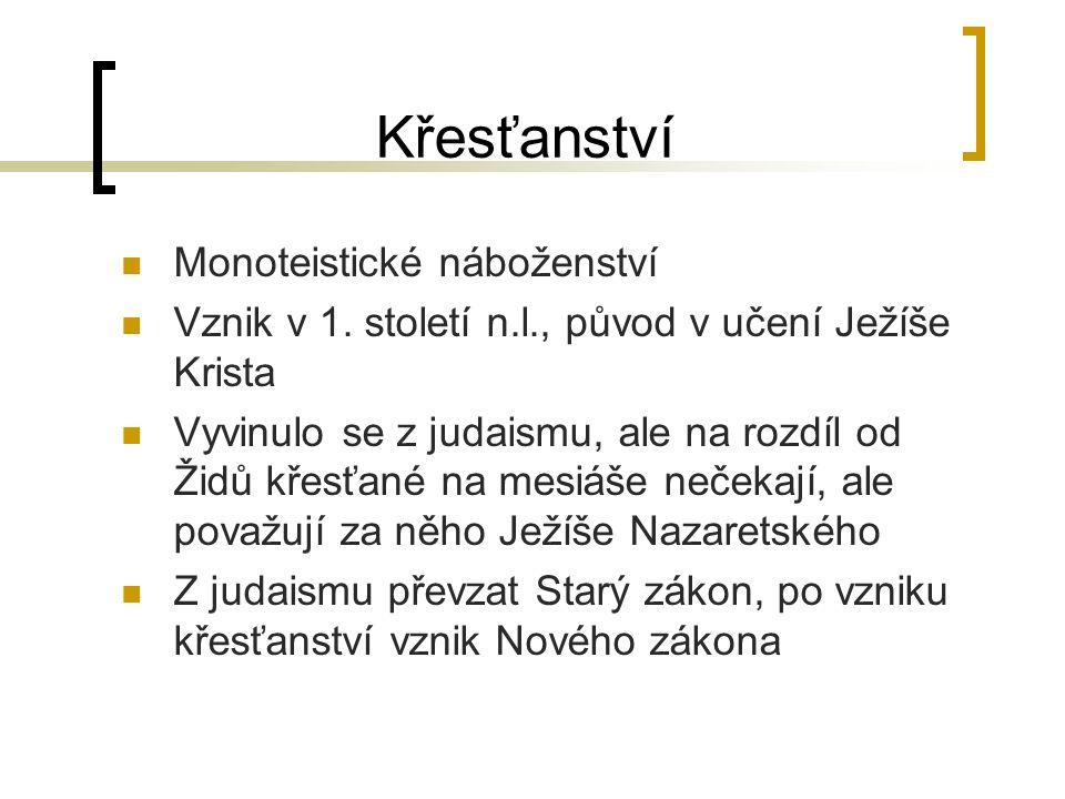Křesťanství Monoteistické náboženství Vznik v 1.