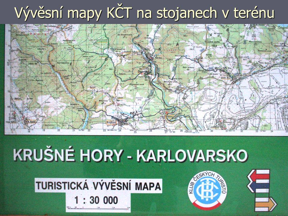 Vývěsní mapy KČT na stojanech v terénu