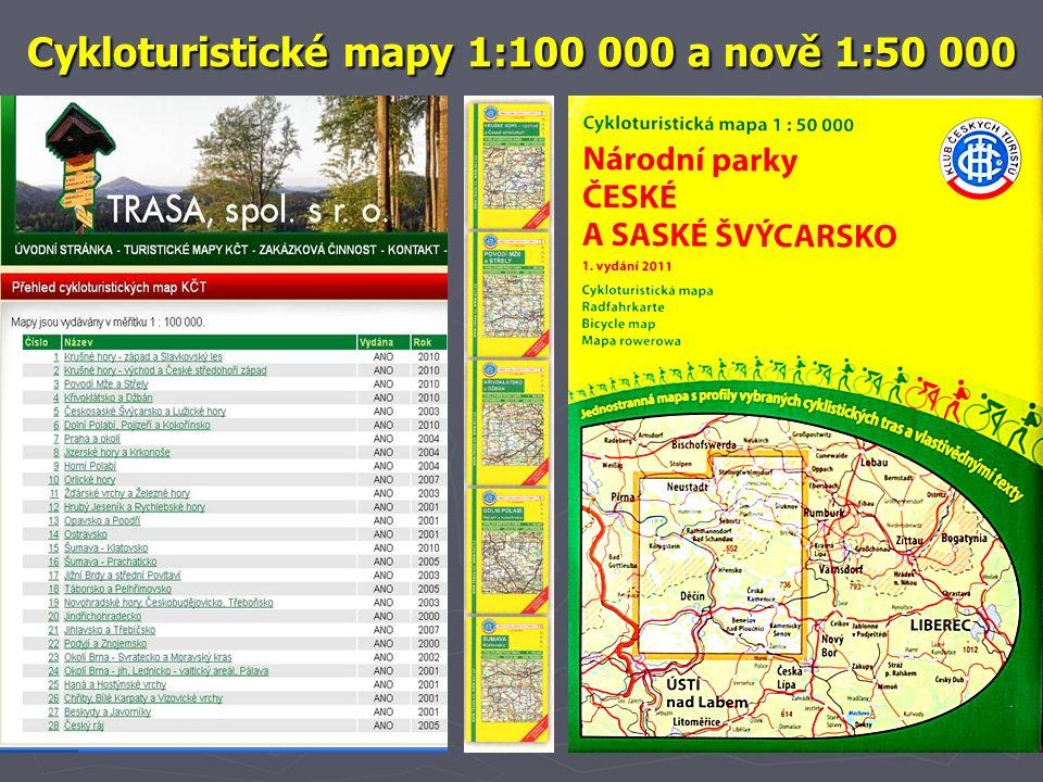 Cykloturistické mapy 1:100 000 a nově 1:50 000