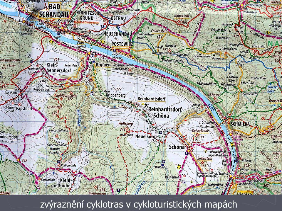zvýraznění cyklotras v cykloturistických mapách