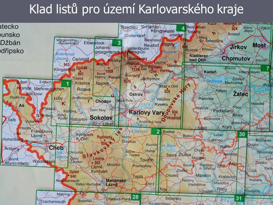 Klad listů pro území Karlovarského kraje