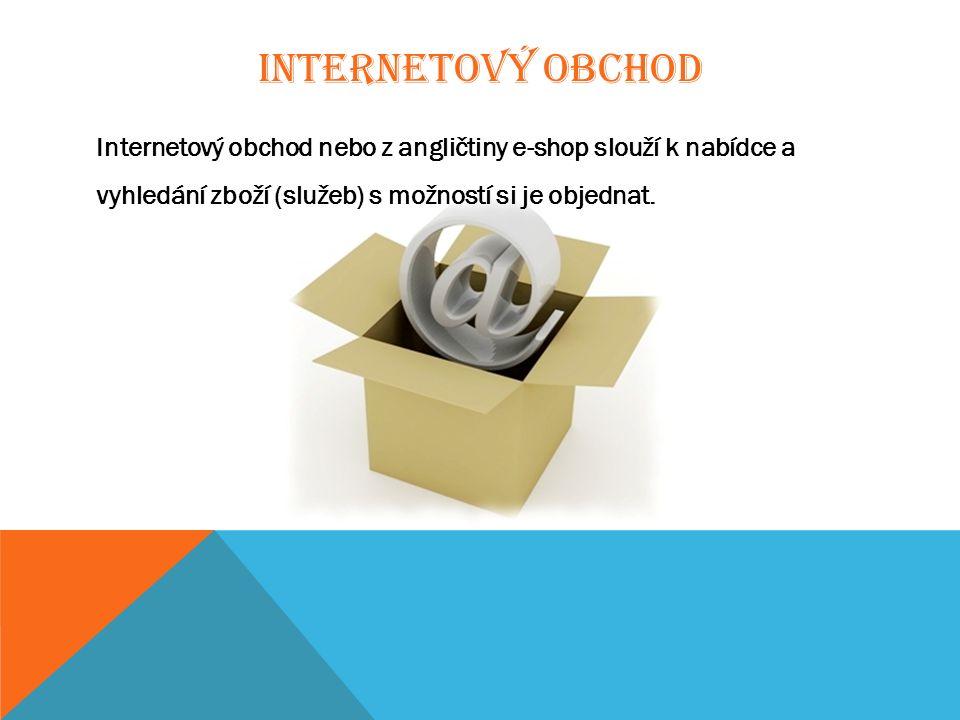 INTERNETOVÝ OBCHOD Internetový obchod nebo z angličtiny e-shop slouží k nabídce a vyhledání zboží (služeb) s možností si je objednat.