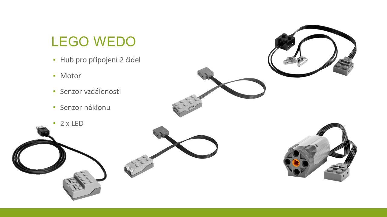 LEGO WEDO ▪ Hub pro připojení 2 čidel ▪ Motor ▪ Senzor vzdálenosti ▪ Senzor náklonu ▪ 2 x LED
