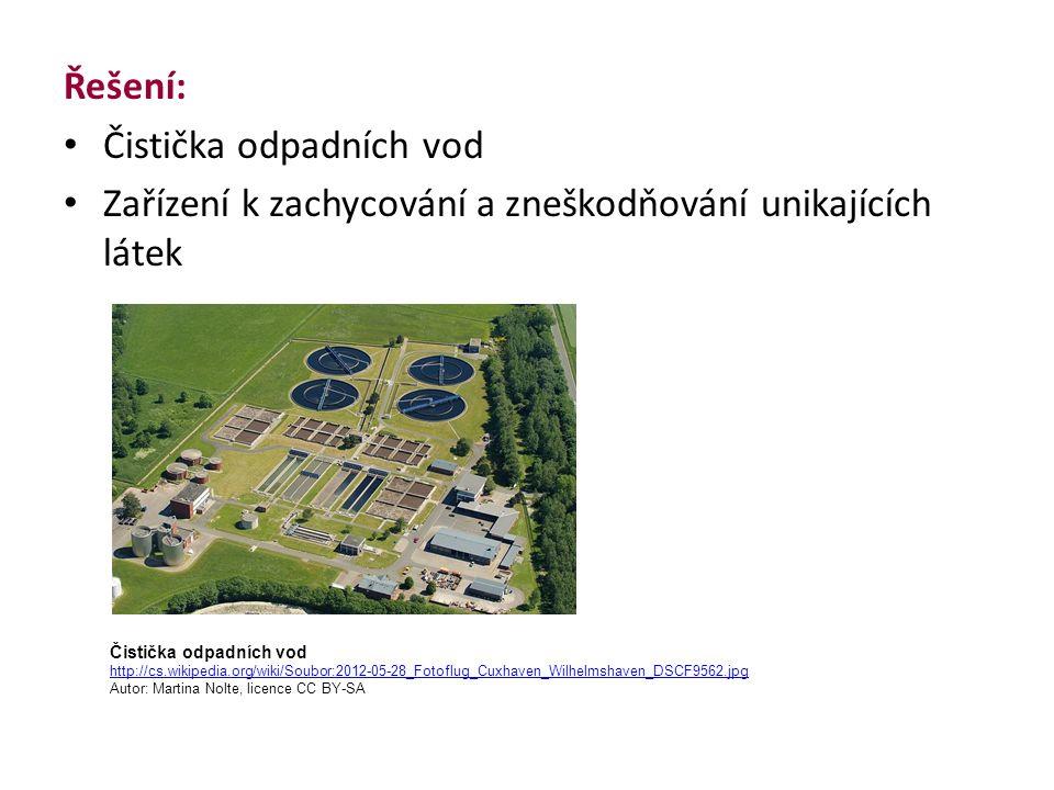 Řešení: Čistička odpadních vod Zařízení k zachycování a zneškodňování unikajících látek Čistička odpadních vod http://cs.wikipedia.org/wiki/Soubor:2012-05-28_Fotoflug_Cuxhaven_Wilhelmshaven_DSCF9562.jpg Autor: Martina Nolte, licence CC BY-SA