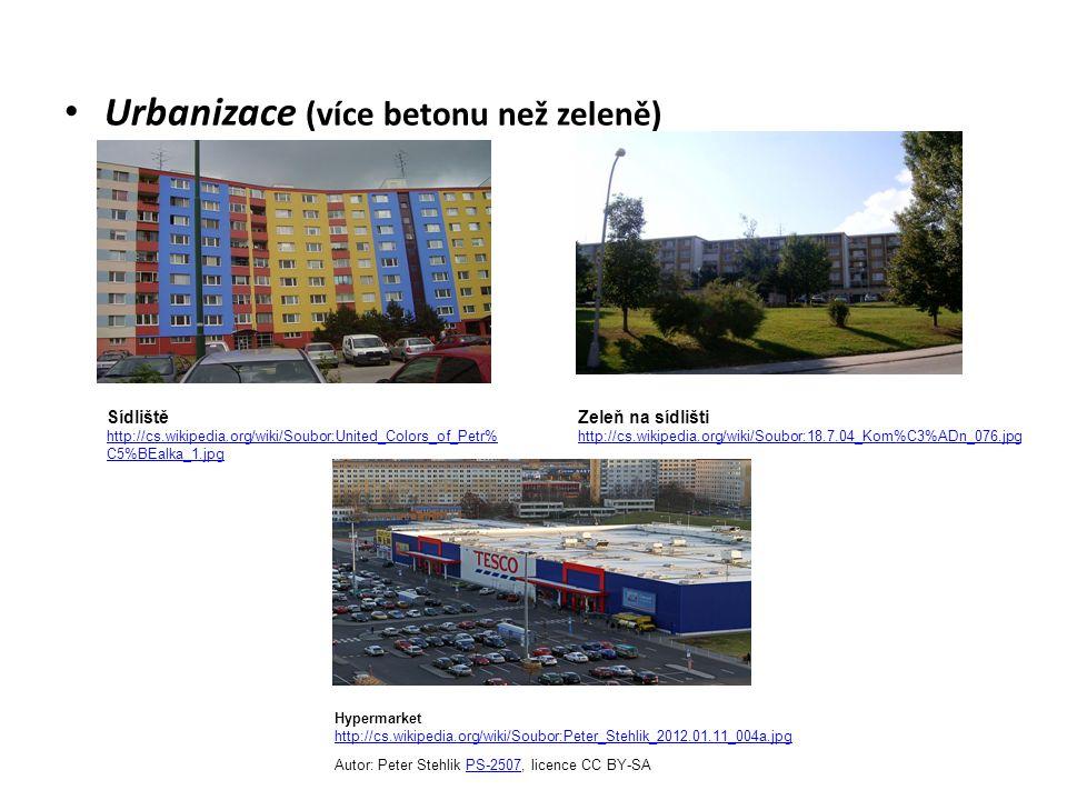 Urbanizace (více betonu než zeleně) Sídliště http://cs.wikipedia.org/wiki/Soubor:United_Colors_of_Petr% C5%BEalka_1.jpg Zeleň na sídlišti http://cs.wikipedia.org/wiki/Soubor:18.7.04_Kom%C3%ADn_076.jpg Hypermarket http://cs.wikipedia.org/wiki/Soubor:Peter_Stehlik_2012.01.11_004a.jpg Autor: Peter Stehlik PS-2507, licence CC BY-SAPS-2507