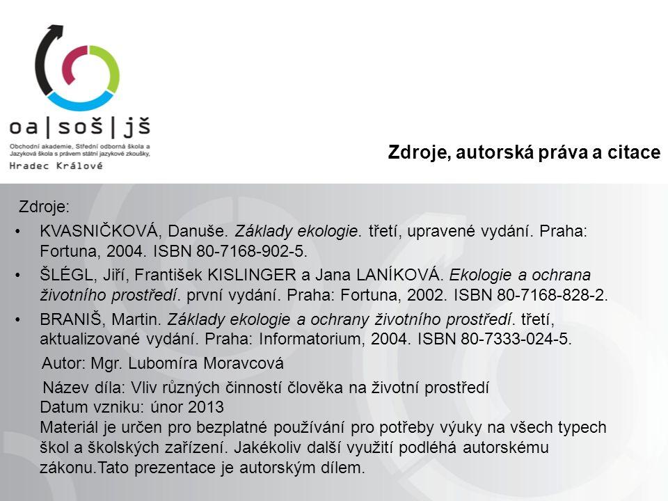Zdroje, autorská práva a citace Zdroje: KVASNIČKOVÁ, Danuše.