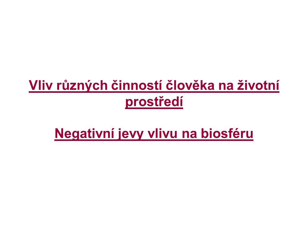 Vliv různých činností člověka na životní prostředí Negativní jevy vlivu na biosféru