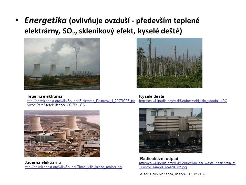 Energetika (ovlivňuje ovzduší - především teplené elektrárny, SO 2, skleníkový efekt, kyselé deště) Tepelná elektrárna http://cs.wikipedia.org/wiki/Soubor:Elektrarna_Prunerov_II_20070926.jpg Autor: Petr Štefek, licence CC BY - SA Kyselé deště http://cs.wikipedia.org/wiki/Soubor:Acid_rain_woods1.JPG Jaderná elektrárna http://cs.wikipedia.org/wiki/Soubor:Three_Mile_Island_(color).jpg Radioaktivní odpad http://cs.wikipedia.org/wiki/Soubor:Nuclear_waste_flask_train_at _Bristol_Temple_Meads_02.jpg Autor: Chris McKenna, licence CC BY - SA