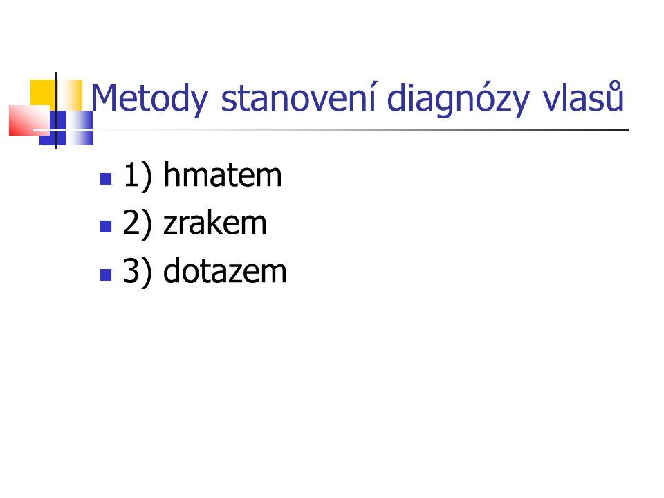 Metody stanovení diagnózy vlasů 1) hmatem 2) zrakem 3) dotazem