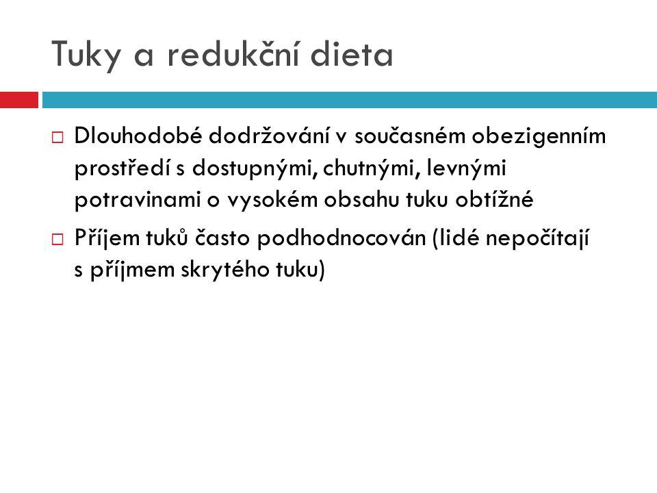 Tuky a redukční dieta  Dlouhodobé dodržování v současném obezigenním prostředí s dostupnými, chutnými, levnými potravinami o vysokém obsahu tuku obtí