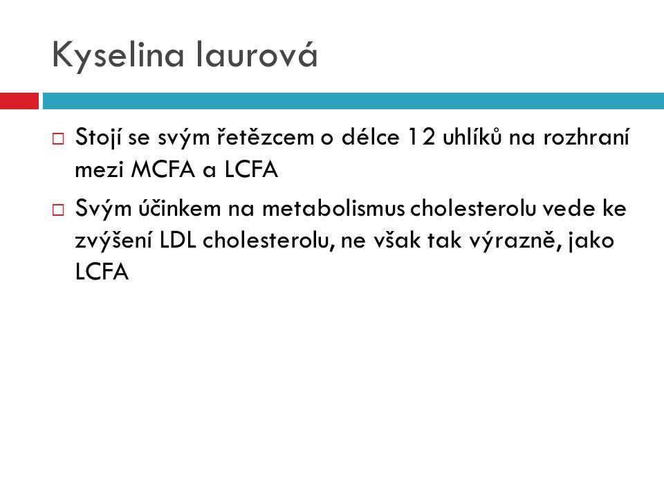 Kyselina laurová  Stojí se svým řetězcem o délce 12 uhlíků na rozhraní mezi MCFA a LCFA  Svým účinkem na metabolismus cholesterolu vede ke zvýšení L
