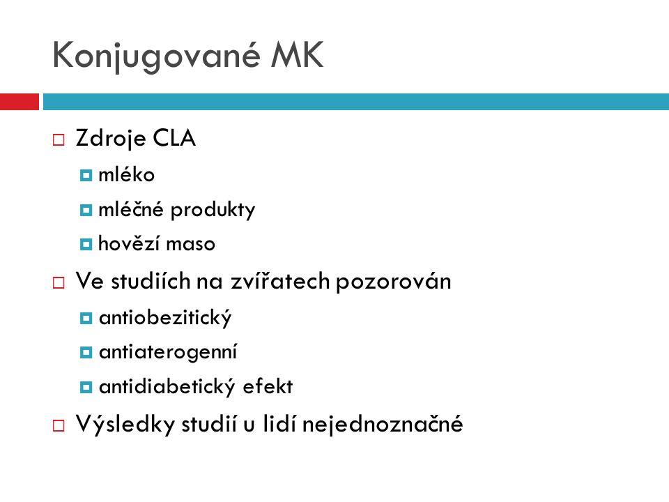 Konjugované MK  Zdroje CLA  mléko  mléčné produkty  hovězí maso  Ve studiích na zvířatech pozorován  antiobezitický  antiaterogenní  antidiabe