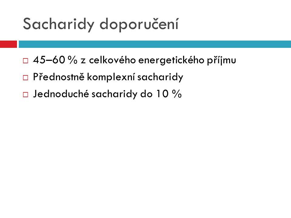 Sacharidy doporučení  45–60 % z celkového energetického příjmu  Přednostně komplexní sacharidy  Jednoduché sacharidy do 10 %