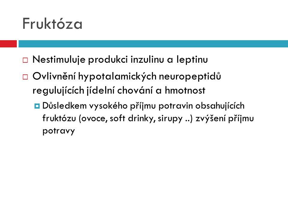Fruktóza  Nestimuluje produkci inzulinu a leptinu  Ovlivnění hypotalamických neuropeptidů regulujících jídelní chování a hmotnost  Důsledkem vysoké