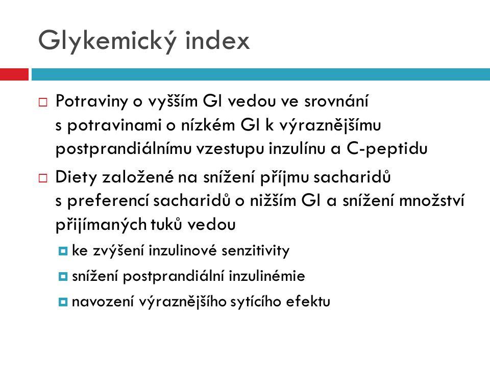 Glykemický index  Potraviny o vyšším GI vedou ve srovnání s potravinami o nízkém GI k výraznějšímu postprandiálnímu vzestupu inzulínu a C-peptidu  D