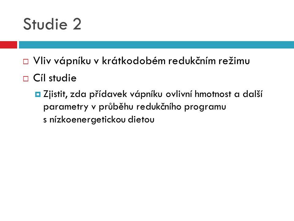 Studie 2  Vliv vápníku v krátkodobém redukčním režimu  Cíl studie  Zjistit, zda přídavek vápníku ovlivní hmotnost a další parametry v průběhu reduk