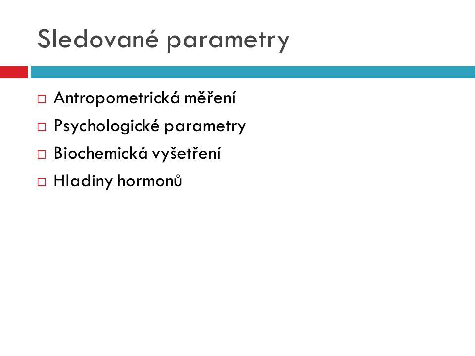 Sledované parametry  Antropometrická měření  Psychologické parametry  Biochemická vyšetření  Hladiny hormonů
