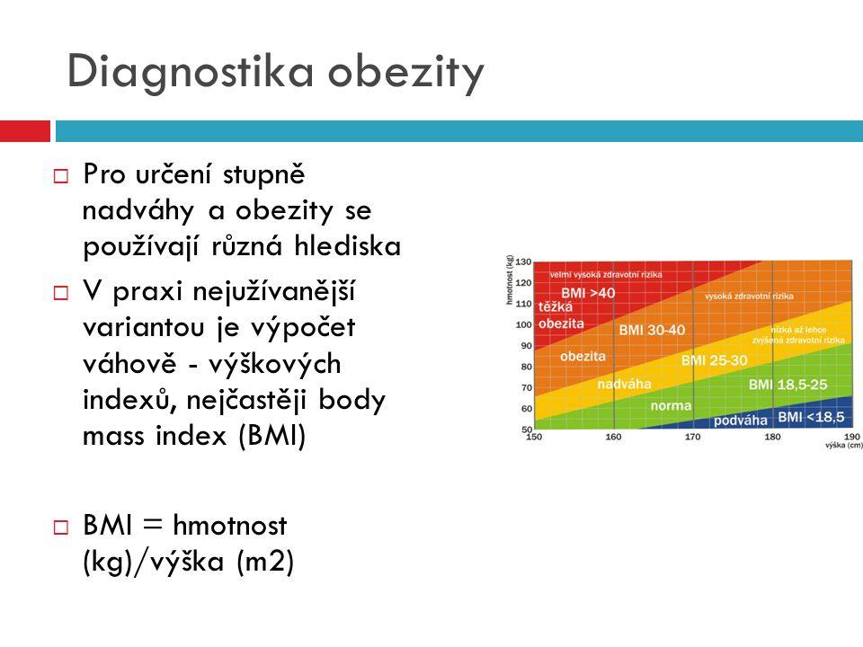 Diagnostika obezity  Pro určení stupně nadváhy a obezity se používají různá hlediska  V praxi nejužívanější variantou je výpočet váhově - výškových