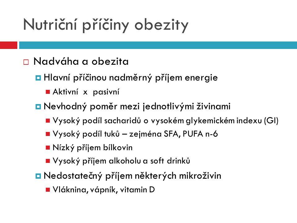 Nutriční příčiny obezity  Nadváha a obezita  Hlavní příčinou nadměrný příjem energie Aktivní x pasivní  Nevhodný poměr mezi jednotlivými živinami V