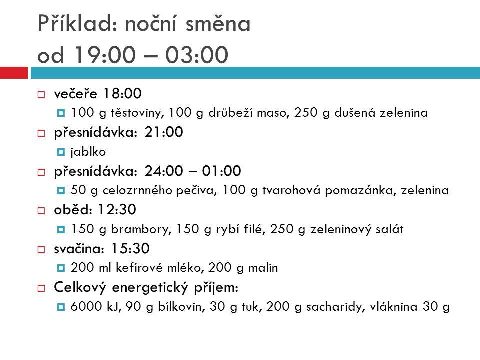 Příklad: noční směna od 19:00 – 03:00  večeře 18:00  100 g těstoviny, 100 g drůbeží maso, 250 g dušená zelenina  přesnídávka: 21:00  jablko  přes