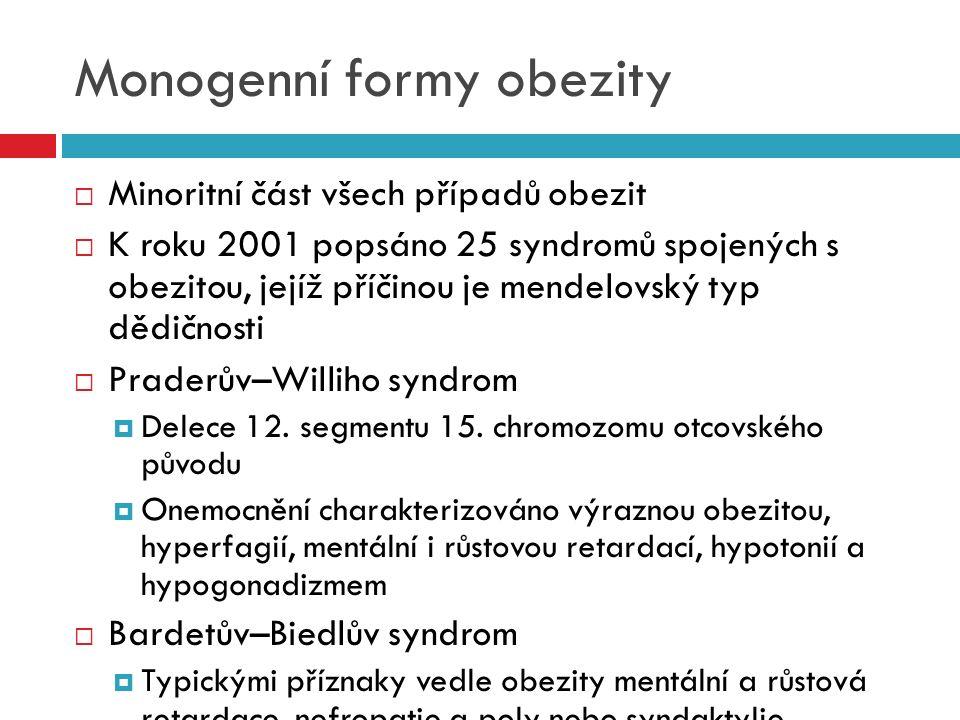 Monogenní formy obezity  Minoritní část všech případů obezit  K roku 2001 popsáno 25 syndromů spojených s obezitou, jejíž příčinou je mendelovský ty