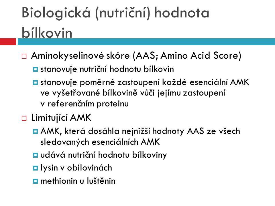 Biologická (nutriční) hodnota bílkovin  Aminokyselinové skóre (AAS; Amino Acid Score)  stanovuje nutriční hodnotu bílkovin  stanovuje poměrné zastoupení každé esenciální AMK ve vyšetřované bílkovině vůči jejímu zastoupení v referenčním proteinu  Limitující AMK  AMK, která dosáhla nejnižší hodnoty AAS ze všech sledovaných esenciálních AMK  udává nutriční hodnotu bílkoviny  lysin v obilovinách  methionin u luštěnin