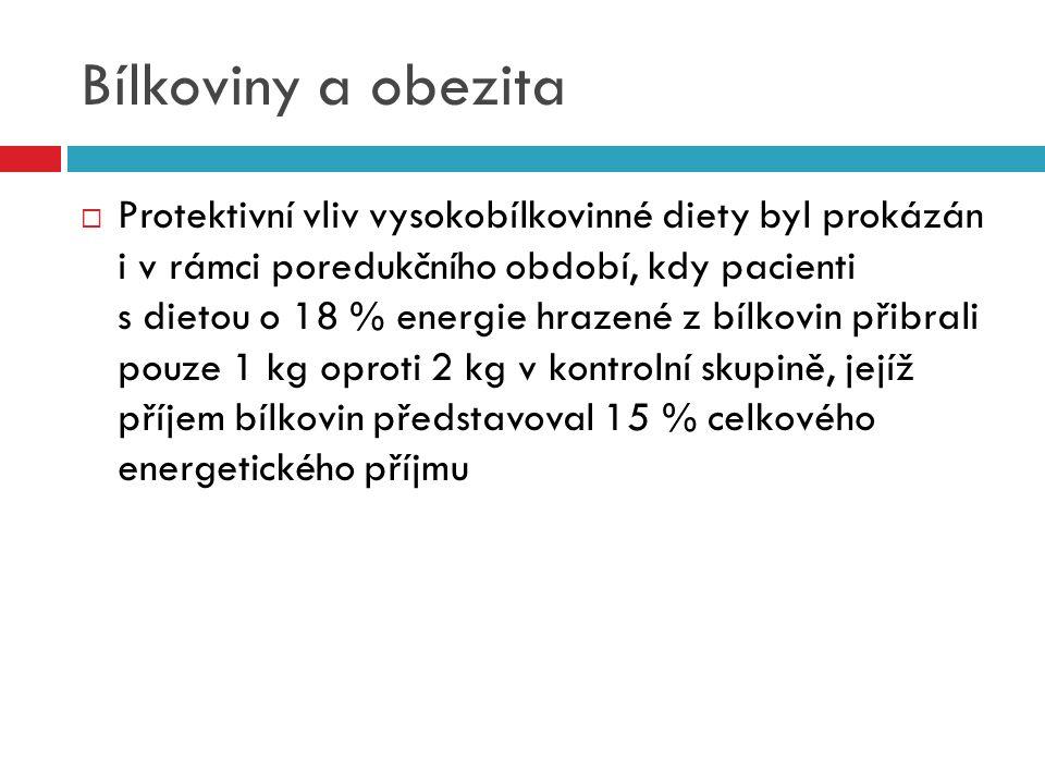 Bílkoviny a obezita  Protektivní vliv vysokobílkovinné diety byl prokázán i v rámci poredukčního období, kdy pacienti s dietou o 18 % energie hrazené