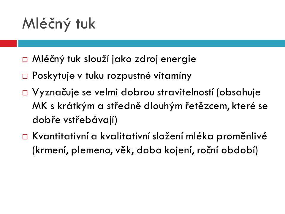 Mléčný tuk  Mléčný tuk slouží jako zdroj energie  Poskytuje v tuku rozpustné vitamíny  Vyznačuje se velmi dobrou stravitelností (obsahuje MK s krát