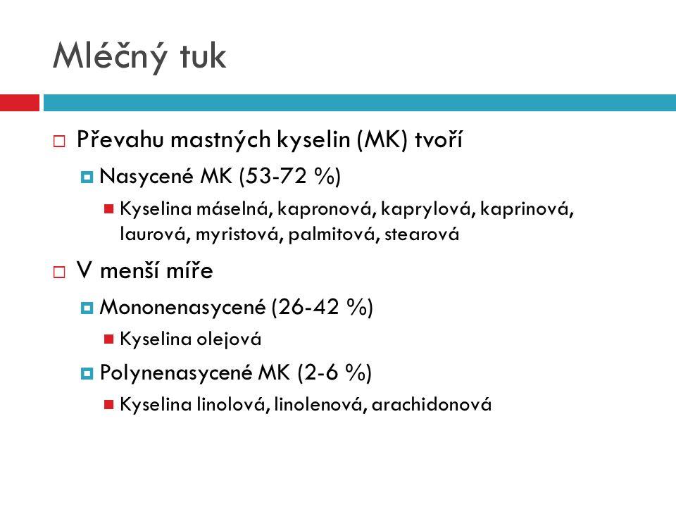 Mléčný tuk  Převahu mastných kyselin (MK) tvoří  Nasycené MK (53-72 %) Kyselina máselná, kapronová, kaprylová, kaprinová, laurová, myristová, palmit