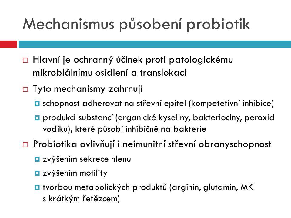 Mechanismus působení probiotik  Hlavní je ochranný účinek proti patologickému mikrobiálnímu osídlení a translokaci  Tyto mechanismy zahrnují  schop