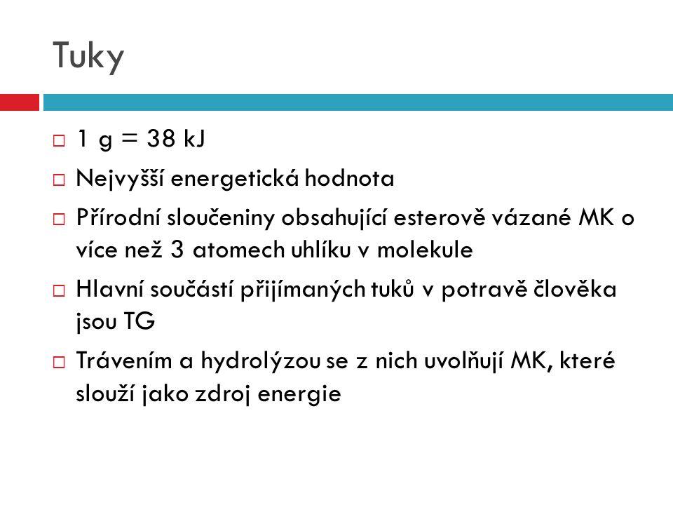 Tuky  1 g = 38 kJ  Nejvyšší energetická hodnota  Přírodní sloučeniny obsahující esterově vázané MK o více než 3 atomech uhlíku v molekule  Hlavní