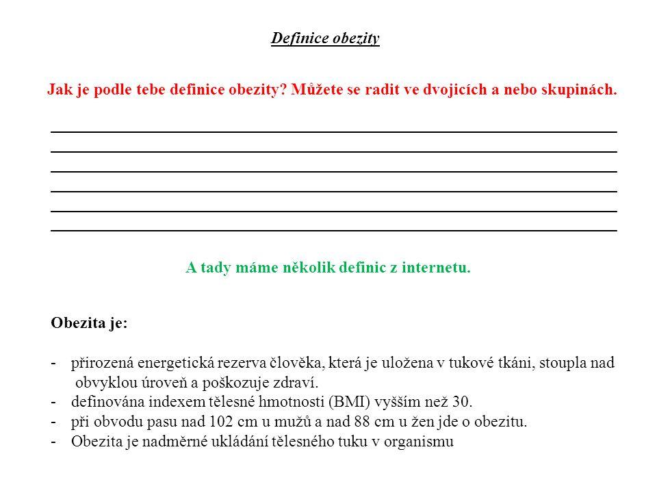 Definice obezity Jak je podle tebe definice obezity.