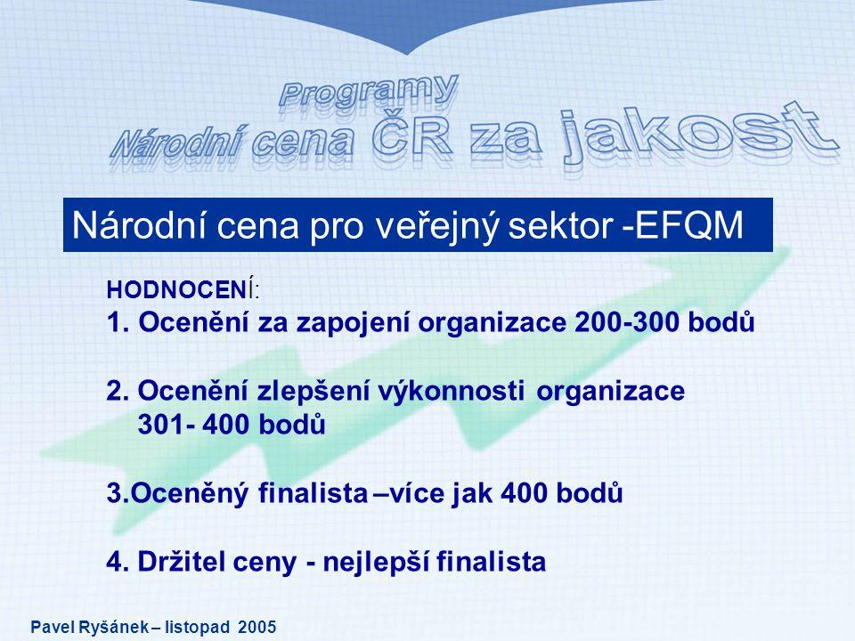 Národní cena pro veřejný sektor -EFQM HODNOCENÍ: 1.Ocenění za zapojení organizace 200-300 bodů 2.