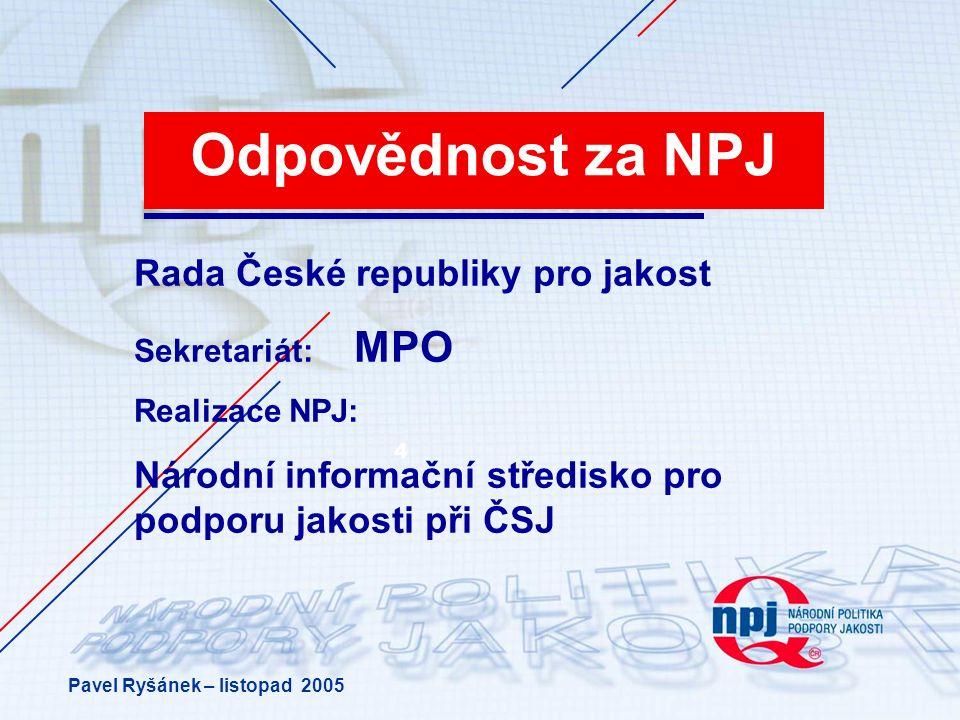 4 Odpovědnost za NPJ Rada České republiky pro jakost Sekretariát: MPO Realizace NPJ: Národní informační středisko pro podporu jakosti při ČSJ