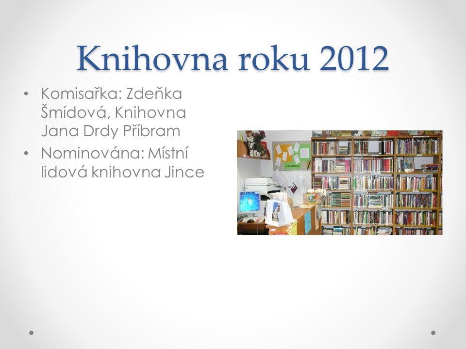 Knihovna roku 2012 Komisařka: Zdeňka Šmídová, Knihovna Jana Drdy Příbram Nominována: Místní lidová knihovna Jince
