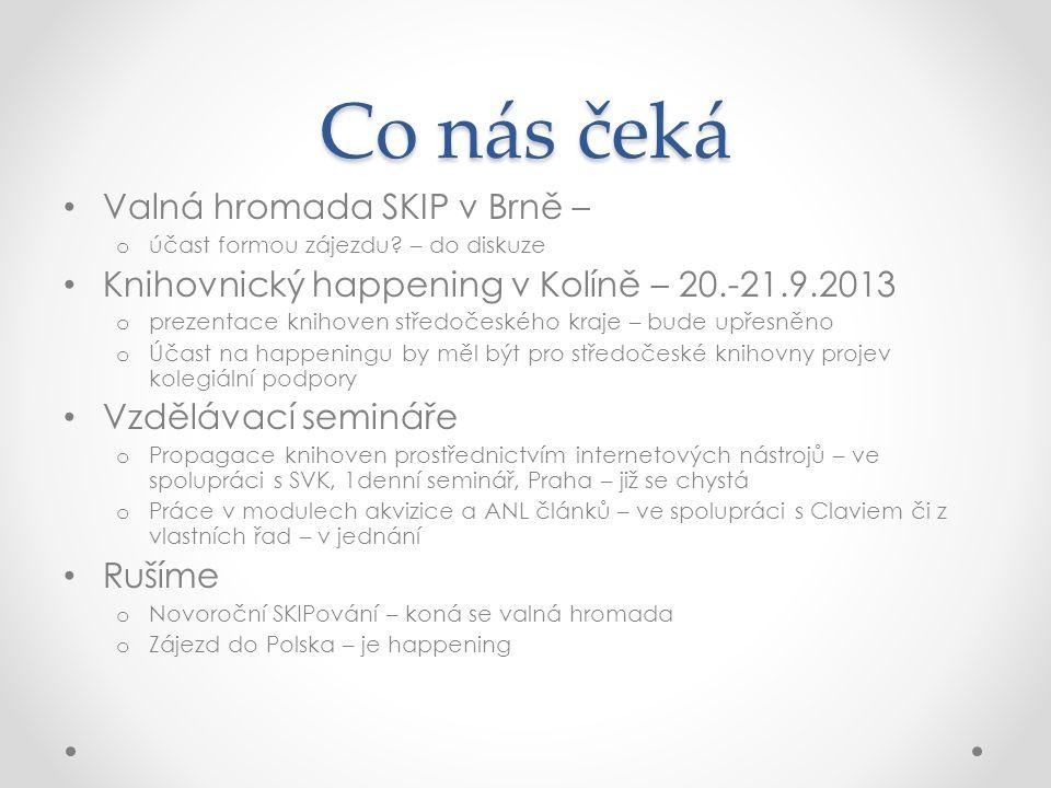 Co nás čeká Valná hromada SKIP v Brně – o účast formou zájezdu? – do diskuze Knihovnický happening v Kolíně – 20.-21.9.2013 o prezentace knihoven stře