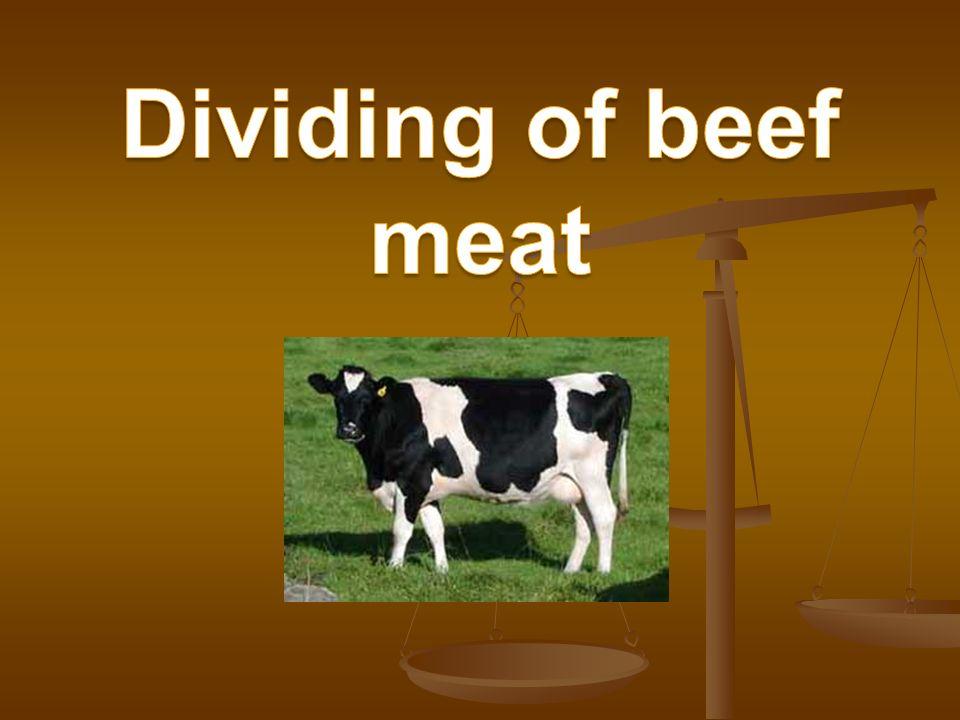 Parts of beef Neck Undershoulder Sirloin high Ribs high Breast Shoulder Sirloin low Tenderloin Ribs low Brisket (belly) Leg Tail Shank (foreshank – hind shank)