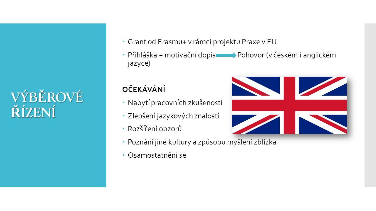 VÝB Ě ROVÉ Ř ÍZENÍ  Grant od Erasmu+ v rámci projektu Praxe v EU  Přihláška + motivační dopis Pohovor (v českém i anglickém jazyce) OČEKÁVÁNÍ  Nabytí pracovních zkušeností  Zlepšení jazykových znalostí  Rozšíření obzorů  Poznání jiné kultury a způsobu myšlení zblízka  Osamostatnění se