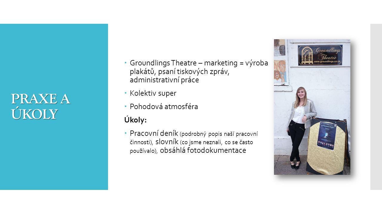 PRAXE A ÚKOLY  Groundlings Theatre – marketing = výroba plakátů, psaní tiskových zpráv, administrativní práce  Kolektiv super  Pohodová atmosféra Úkoly:  Pracovní deník (podrobný popis naší pracovní činnosti), slovník (co jsme neznali, co se často používalo), obsáhlá fotodokumentace