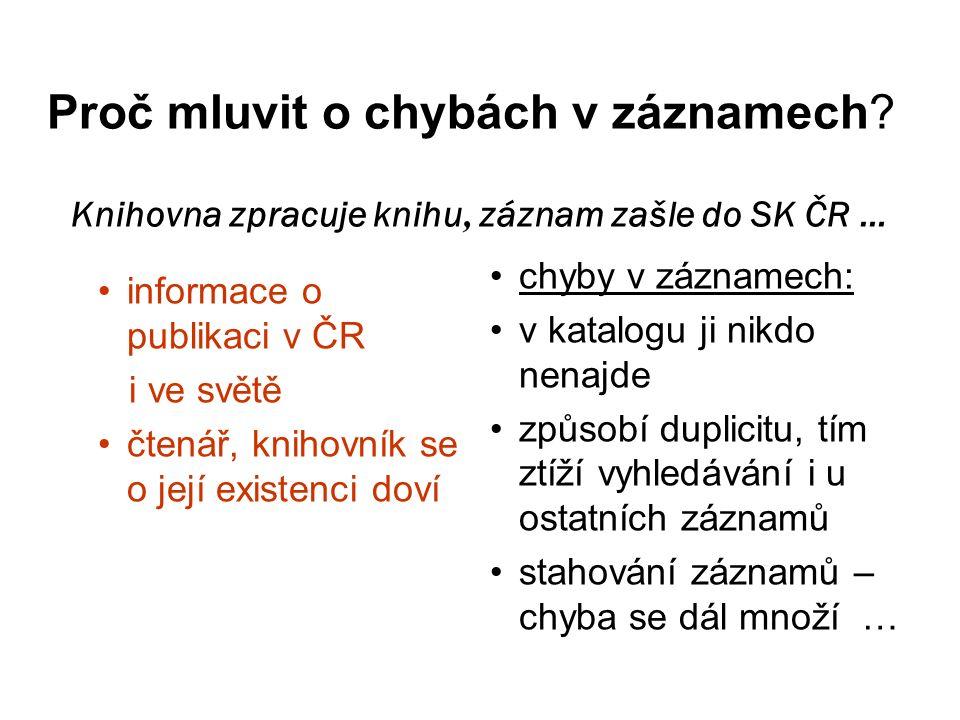 Příklad 5 V SK ČR vzniká duplicita z důvodu odlišného přístupu ke zpracování hlavního záhlaví (pokud má dílo více než 3 autory, neuvádí se autor v hlavním záhlaví ) Raději živé chyby než mrtvou dokonalost.