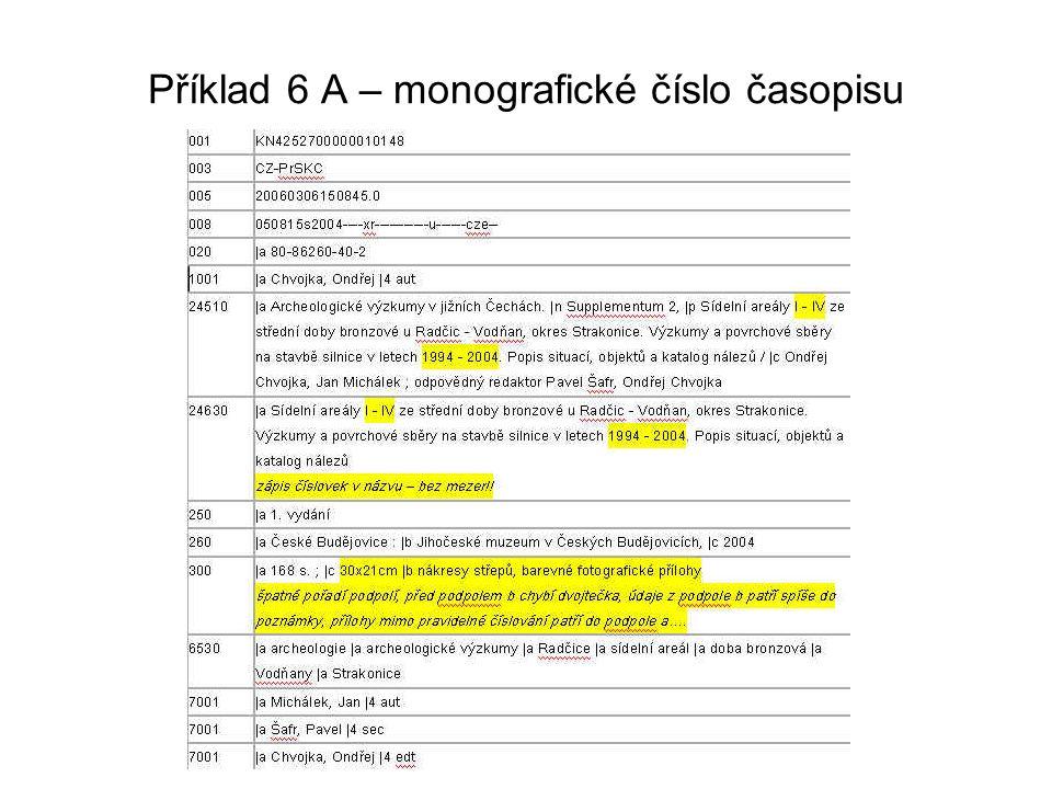 Příklad 6 A – monografické číslo časopisu